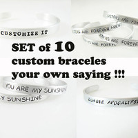 set of 10 custom bracelets hand stamped personalized bracelet gift for friend
