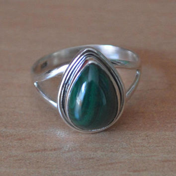 Malachite Ring, Malachite Stone Ring, Silver Ring, Solid Sterling Silver Ring, Sterling Silver Ring,Teardrop Malachite Ring Handmade Jewelry