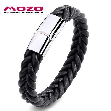 MOZO FASHION Men's Stainless Steel Magnetic Buckle Woven Bracelet (Black/Brown Leather)