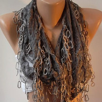 Grey lace and Elegance Shawl / Scarf with Lace Edge by womann