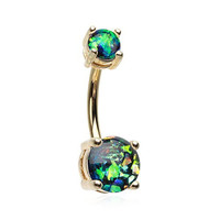 Golden Opal Sparkle Belly Button Ring (Black)