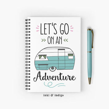Let's Go On An Adventure - Spiral Notebook With Lined Paper, A5 Writing Journal, Diary, Lined Journal, Travel Journal, Camper