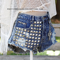 Custom Distressed High Waisted Stud Denim shorts by PrettyRockGirl