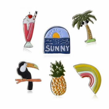 Trendy Fashion Coco tree Sunny Pineapple Bird Rainbow Bridge Ice cream Brooch Pin Denim Jacket Collar Badge Pins Button Jewelry AT_94_13