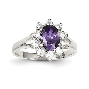 Sterling Silver Purple Oval CZ Cluster Ring