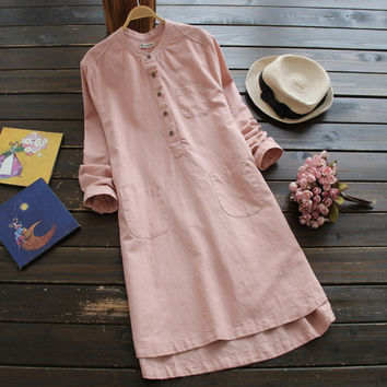 free shipping 2017 spring autumn new women loose casual solid tand Collar long-sleeved cotton linen dress female