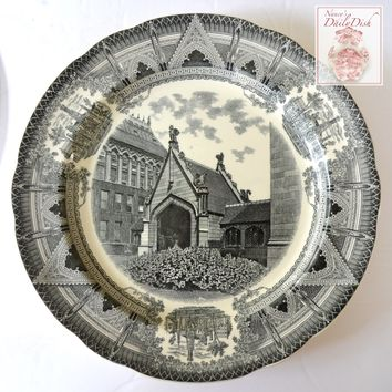 Spode Copeland Black Transferware Charger Plate Stunning Neo Gothic Style Architectural Border Chicago University Hull Court