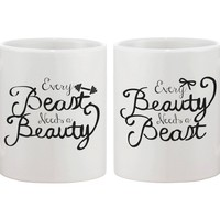 Every Beauty Needs a Beast Romantic Matching Coffee Mugs - Perfect Wedding, Engagement, Anniversary, and Valentines Day Gift for Couples