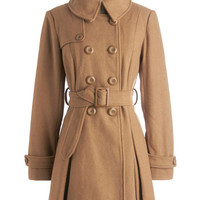 ModCloth Menswear Inspired Long Long Sleeve Double Breasted Inkwell Done Coat in Caramel