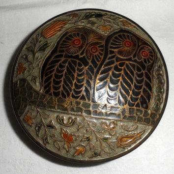 1970s Vintage Solid Round Brass Cloisonne Owl Decorated Trinket Box/Made in India/Covered Trinket Box/Covered Key Holder/Cloisonne Owls Lid