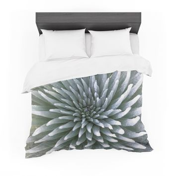 "Susan Sanders ""White Tropical Flower"" White Green Floral Nature Photography Featherweight Duvet Cover"