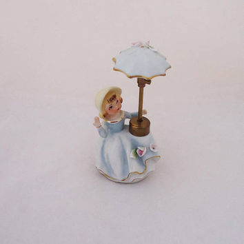 Vintage Porcelain Lady wih Umbrella Atomizer, Porcelain Lady Perfume Bottle