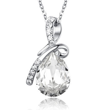 Eternal Love Teardrop Swarovski Elements Crystal Pendant Necklace - Clear