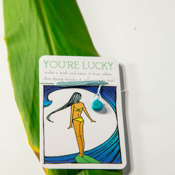 You're Lucky Bracelet - Light Blue & Turquoise Stone