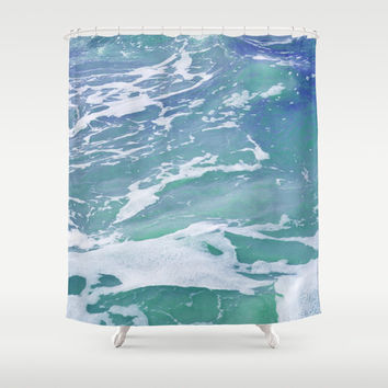 Mermaid Waters 2 - Shower Curtain, Blue Green Ocean Sea, Pastel Color Beach Surf Decor Vanity Bathroom Tub Accent. Available in 71x74 Inch