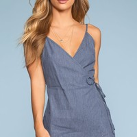 Blue Without You Striped Wrap Romper