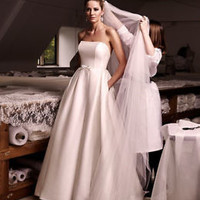 Strapless Satin Wedding Dress Pockets Low Back Bridal Gown Custom Size 0 2 4 6 8