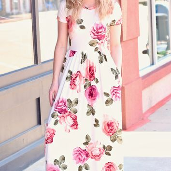 Kate Floral Print Maxi Dress {Ivory}