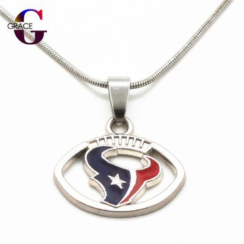 Fashion Houston Texans Team Charms Football Sports Pendant Necklace With Snake Chain(45+5cm) Necklace For Women DIY Jewelry