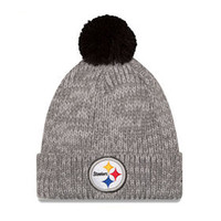 Pittsburgh Steelers Heather Gray Start Cuff Knit Pom Beanie