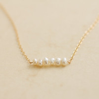 Tiny organic freshwater pearls gold filled necklace - bridal or everyday jewelry by AmiesAmies