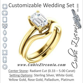 CZ Wedding Set, featuring The Venusia engagement ring (Customizable Radiant Cut Solitaire with Thin Band)