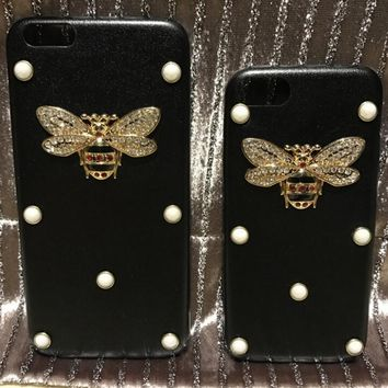 Fashion GUCCI BEE pearl iPhone Phone Cover Case For iphone 6 6s 6plus 6s- plus b8fd3d219