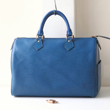Louis Vuitton Epi Speedy 30 Blue Tote Boston Handbag Authentic Vintage purse