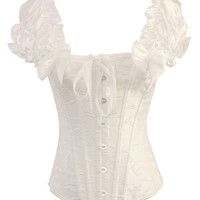 Ruffled Sleeve Lace-up Corset Bustier Top