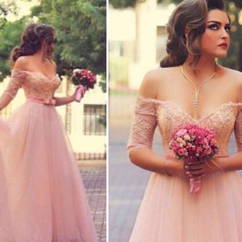 New Beading Bodice Pearl Crystal Covered Pink Long Prom Dresses Sweetheart Off the Shoulder Plus Size Prom  Evening Dresses