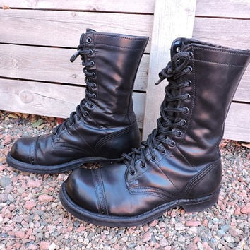 Corcoran 1500 original jump boots / size 6.5 mens / 8 womens / vintage combat boots / black leather cap toe military boots
