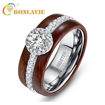 BONLAVIE Exquisite Tungsten Carbide Steel Ring with Silver Zircon Real Polished Koa Wood Rings for Women Wedding Jewelry