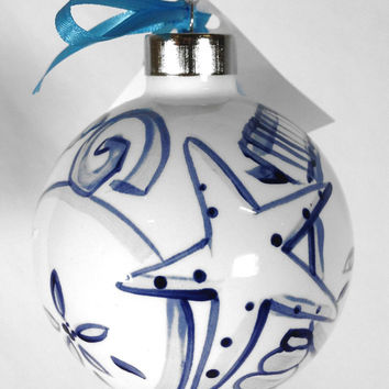 SHARD Pottery of Maine - Hand Painted Ceramic Ornament by J. Victoria Rattigan Designs (Seashell)