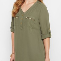 Olive Button Down Military Blouse | Blouses | rue21