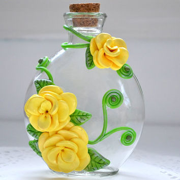 Sculpted Flowers - Flower Vase - Polymer Clay Vase - Decorated Bottle - Clay Flowers - Embellished Bottle - Fantasy Bottle - Flower Decor