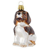 "3"" Beagle Ornament, White/Brown"