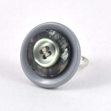 Upcycled Button Ring Neutral Grey Tones Adjustable Jewellery in Handmade Felt Jewelry Pouch