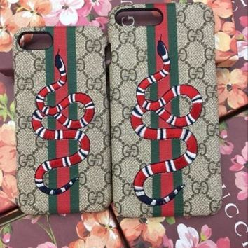 CREY9N GUCCI Fashion Print Embroidery iPhone Phone Cover Case For iphone 8 8plus iPhone6 6s 6