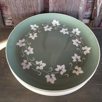 Vintage Harker pottery Ivy Wreath green dinner plates, green / white tableware, mid century Harkerware atomic dishes, 60s kitchen dinnerware