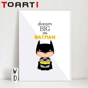 Cartoon Superhero Batman Movie Poster Print Nordic Kids Room Wall Art Picture Home Decor Batman Mask Canvas Painting