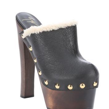 Giuseppe Zanotti Black Leather And Shearling 'tropez' Studded Platform Clogs | Bluefly