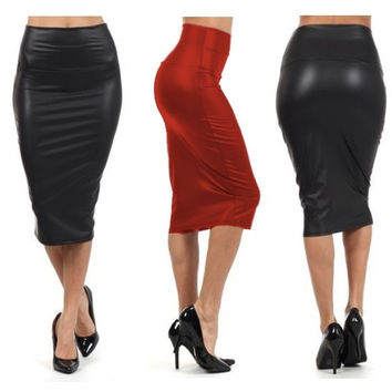 Women black faux leather pencil skirt High Waist Sexy Below Knee dress  SV002497
