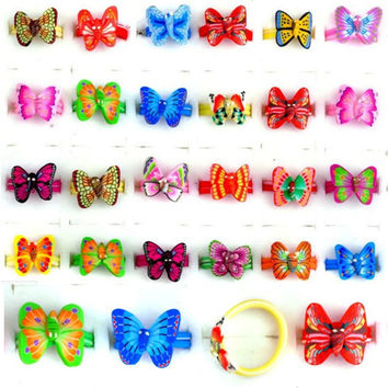 20Pcs/lot Jewelry Colorful Butterfly Charm Mixed Polymer Clay Children Kids Girl Finger Rings Christmas Gift Adjustable Ring