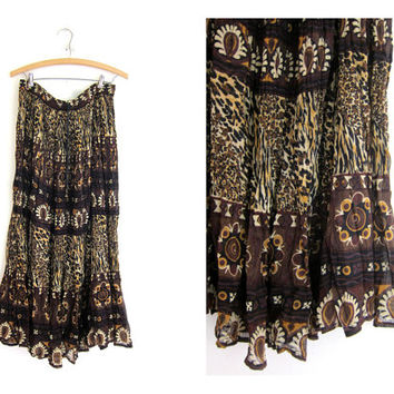 Vintage Boho crinkle Skirt / breezy animal print skirt // long drawstring gypsy skirt // Made in India sheer Hippie skirt