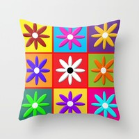 Pop Daisy Throw Pillow by Miss L In Art