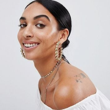 Steve Madden Gold Open Hoop Earrings at asos.com