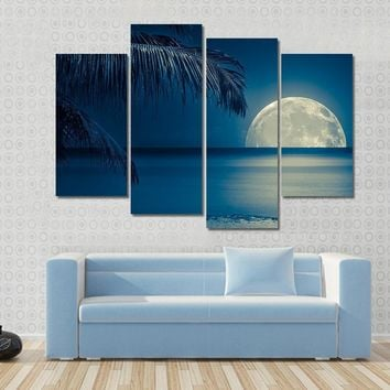 Full Moon Reflected On The Calm Water Of A Tropical Beach Multi Panel Canvas Wall Art