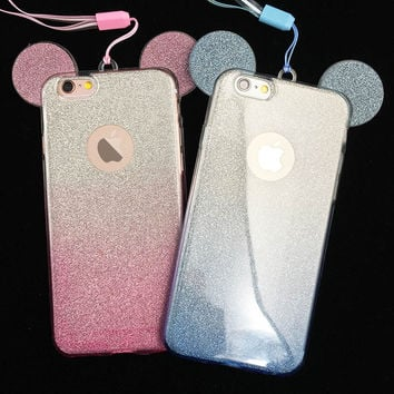 Soft TPU Phone Case For iphone 5 5s SE 6 6s 6plus 3D Mickey Minnie Mouse Ears Silicone Glitter Gradient Case with Phone straps