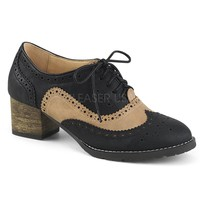 Pin Up Couture Russell Black Tan Wingtip Heels