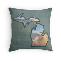 Lake Michigan Photo Pillow Cover, Holland MI Beach, Throw Pillow, Michigan State Outline Pillow, Beach House, Cabin Decor, Photo